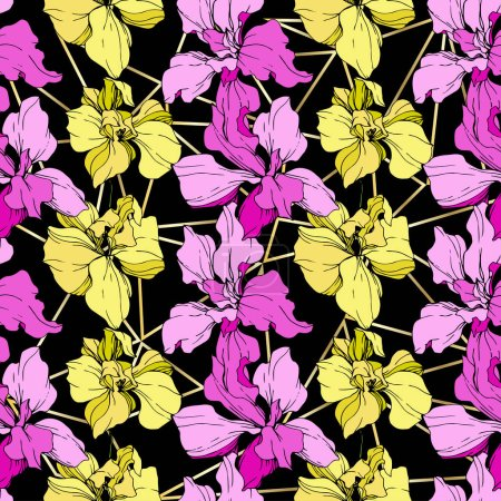 Beautiful yellow and pink orchid flowers. Seamless background pattern. Fabric wallpaper print texture on black background.