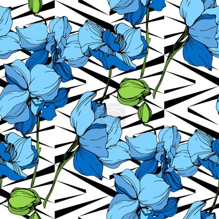 Illustration for Beautiful blue orchid flowers on white background. Seamless background pattern. Fabric wallpaper print texture. - Royalty Free Image