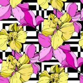 Beautiful pink and yellow orchid flowers on white background Seamless background pattern Fabric wallpaper print texture Engraved ink art