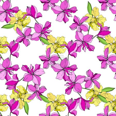 Illustration for Beautiful pink and yellow orchid flowers on white background. Seamless background pattern. Fabric wallpaper print texture. Engraved ink art. - Royalty Free Image