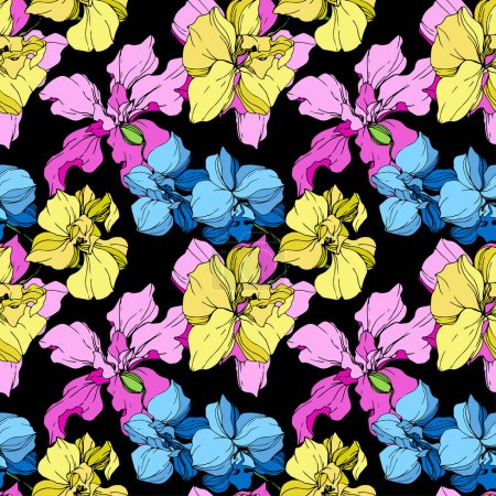 Illustration for Yellow, blue and pink orchids engraved ink art. Seamless background pattern. Fabric wallpaper print texture on black background. - Royalty Free Image