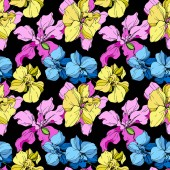 Yellow blue and pink orchids engraved ink art Seamless background pattern Fabric wallpaper print texture on black background