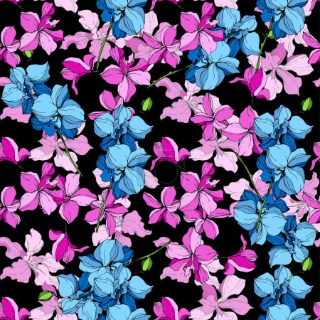 Illustration for Blue and pink orchid flowers. Engraved ink art. Seamless background pattern. Fabric wallpaper print texture on black background. - Royalty Free Image