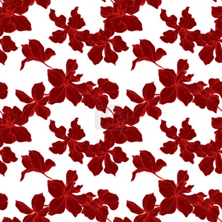 Illustration for Beautiful red orchid flowers. Engraved ink art. Seamless background pattern. Fabric wallpaper print texture on white background. - Royalty Free Image