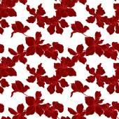 Beautiful red orchid flowers Engraved ink art Seamless background pattern Fabric wallpaper print texture on white background