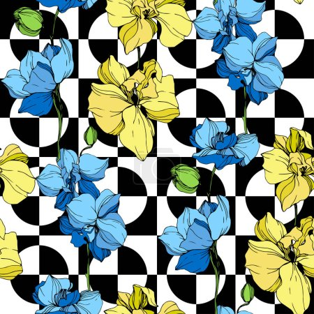 Illustration for Yellow and blue orchids. Engraved ink art. Seamless background pattern. Fabric wallpaper print texture on white background. - Royalty Free Image