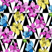 Beautiful yellow blue and pink orchid flowers Seamless background pattern Fabric wallpaper print texture on white background