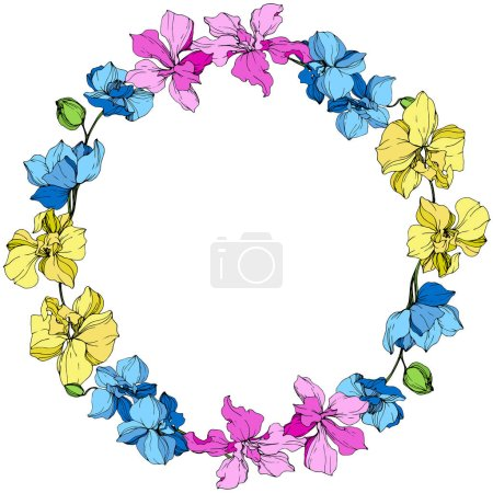 Illustration for Yellow, blue and pink orchids. Engraved ink art. Frame floral wreath on white background. - Royalty Free Image