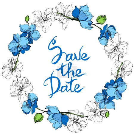 Illustration for Blue and white orchid flowers. Engraved ink art. Frame floral wreath on white background. Save the date handwriting monogram calligraphy. - Royalty Free Image