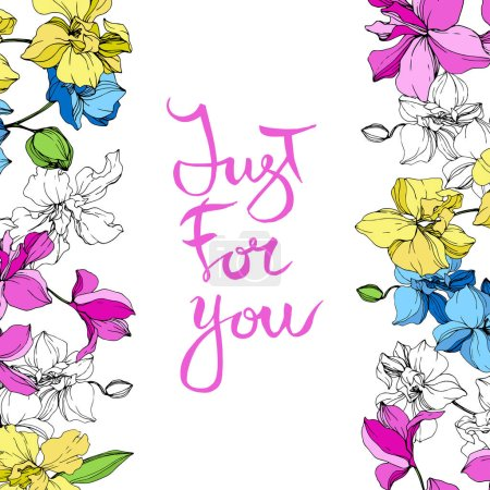 Illustration for Yellow, blue and pink orchids. Engraved ink art. Floral borders. Just for you handwriting monogram calligraphy. - Royalty Free Image