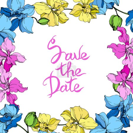 Illustration for Blue, pink and yellow orchids. Engraved ink art. Frame floral square on white background. Save the Date handwriting monogram calligraphy. - Royalty Free Image