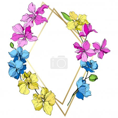 Pink, blue and yellow orchid flowers. Engraved ink art. Frame golden crystal. Geometric crystal stone polyhedron mosaic shape.