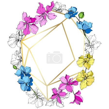 Illustration for Pink, blue and yellow orchid flowers. Engraved ink art. Frame golden crystal. Geometric crystal stone polyhedron mosaic shape. - Royalty Free Image