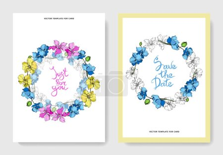 Illustration for Wedding cards with floral decorative borders. Beautiful orchid flowers. Thank you, rsvp, invitation elegant cards illustration graphic set. - Royalty Free Image