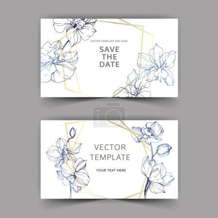 Ilustración de Invitaciones de boda con bordes decorativos de florales. Hermosas flores de orquídeas. Gracias, rsvp, invitación tarjetas elegante ilustración gráfica sistema. - Imagen libre de derechos