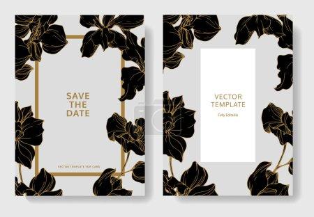 Illustration pour Cartes de mariage avec bordures décoratives florales. Belles fleurs d'orchidées. Je vous remercie, rsvp, jeu graphique illustration cartes élégantes d'invitation. - image libre de droit