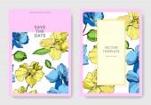 """Постер, картина, фотообои """"Свадебные открытки с цветочные декоративные рамки. Красивые цветы орхидеи. Спасибо, rsvp, приглашение элегантной карты иллюстрации графический набор."""""""