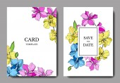 Wedding cards with floral decorative borders Beautiful orchid flowers Thank you rsvp invitation elegant cards illustration graphic set