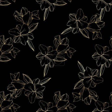 Illustration for Beautiful golden orchids on black background. Engraved ink art. Seamless background pattern. Fabric wallpaper print texture. - Royalty Free Image