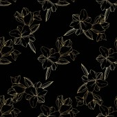 Beautiful golden orchids on black background Engraved ink art Seamless background pattern Fabric wallpaper print texture