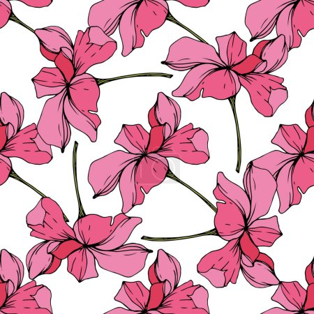 Beautiful pink orchid flowers. Seamless background pattern. Fabric wallpaper print texture. Engraved ink art.
