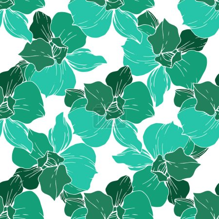 Illustration for Beautiful green orchid flowers on white background. Engraved ink art. Seamless background pattern. Fabric wallpaper print texture. - Royalty Free Image