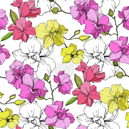 Illustration for Beautiful pink and yellow orchid flowers. Seamless background pattern. Fabric wallpaper print texture. Engraved ink art. - Royalty Free Image