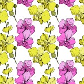 Beautiful pink and yellow orchid flowers Seamless background pattern Fabric wallpaper print texture Engraved ink art