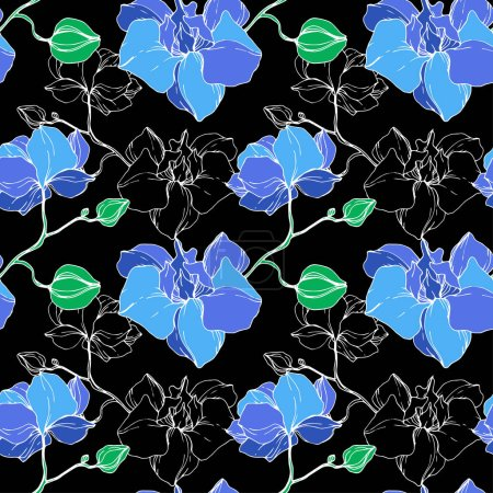 Beautiful blue orchid flowers. Engraved ink art. Seamless background pattern. Fabric wallpaper print texture.