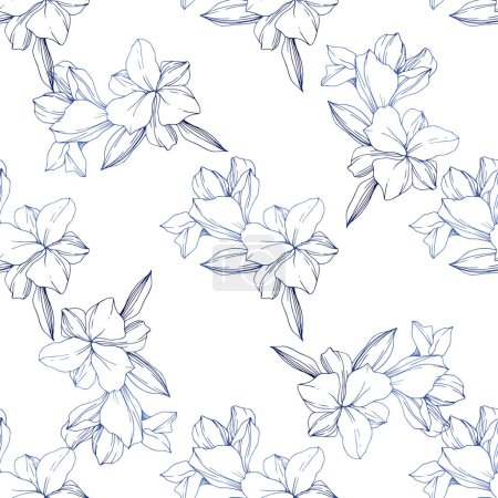 Illustration for Beautiful blue orchid flowers. Engraved ink art. Seamless background pattern. Fabric wallpaper print texture. - Royalty Free Image