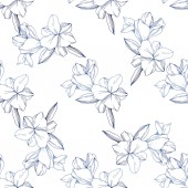 Beautiful blue orchid flowers Engraved ink art Seamless background pattern Fabric wallpaper print texture