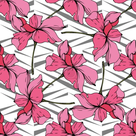 Illustration for Beautiful pink orchid flowers. Seamless background pattern. Fabric wallpaper print texture. Engraved ink art. - Royalty Free Image