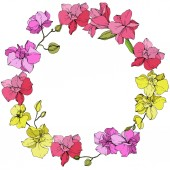Beautiful pink and yellow orchid flowers Engraved ink art Frame floral wreath on white background