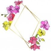 Beautiful pink and yellow orchid flowers Engraved ink art Frame golden crystal Geometric polygon crystal mosaic shape
