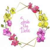 Beautiful pink and yellow orchid flowers Engraved ink art Frame golden crystal Save the Date handwriting monogram calligraphy Geometric polygon crystal mosaic shape