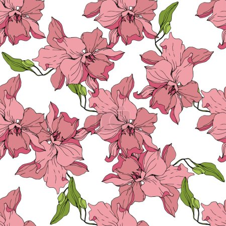 Illustration for Beautiful pink orchid flowers on white background. Seamless background pattern. Fabric wallpaper print texture. Engraved ink art. - Royalty Free Image