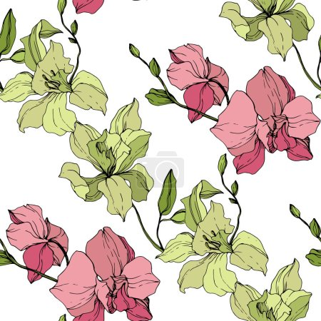 Illustration for Beautiful pink and yellow orchid flowers. Seamless background pattern. Fabric wallpaper print texture. Engraved ink art on white background. - Royalty Free Image