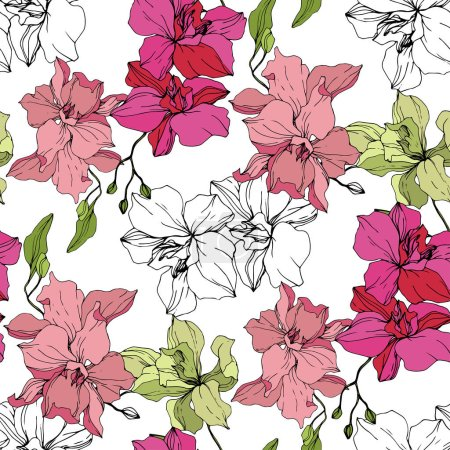 Beautiful pink and yellow orchid flowers. Seamless background pattern. Fabric wallpaper print texture. Engraved ink art on white background.