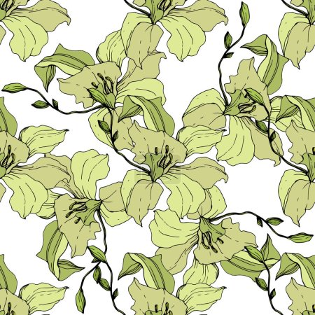 Illustration for Beautiful yellow orchid flowers. Seamless background pattern. Fabric wallpaper print texture. Engraved ink art on white background. - Royalty Free Image