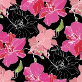 Beautiful pink orchid flowers isolated on black background Seamless background pattern Fabric wallpaper print texture Engraved ink art
