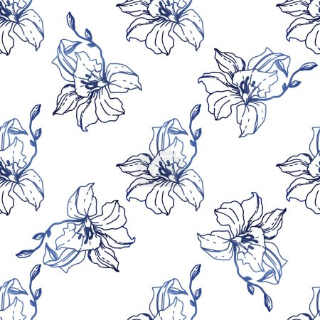 Illustration for Beautiful blue orchid flowers. Seamless background pattern. Fabric wallpaper print texture. Engraved ink art on white background. - Royalty Free Image