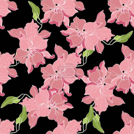 Illustration for Beautiful pink orchid flowers isolated on black background. Seamless background pattern. Fabric wallpaper print texture. Engraved ink art. - Royalty Free Image