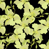 Beautiful yellow orchid flowers Seamless background pattern Fabric wallpaper print texture Engraved ink art on black background
