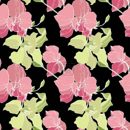 Illustration for Beautiful pink and yellow orchid flowers. Seamless background pattern. Fabric wallpaper print texture. Engraved ink art on black background. - Royalty Free Image