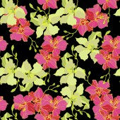 Beautiful pink and yellow orchid flowers Seamless background pattern Fabric wallpaper print texture Engraved ink art on black background