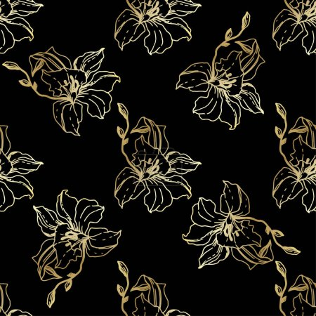 Beautiful golden orchid flowers. Seamless background pattern. Fabric wallpaper print texture. Engraved ink art on black background.