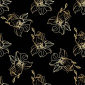 Beautiful golden orchid flowers Seamless background pattern Fabric wallpaper print texture Engraved ink art on black background