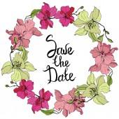 "Постер, картина, фотообои ""Beautiful pink and yellow orchid flowers. Engraved ink art. Save the Date handwriting monogram calligraphy. """