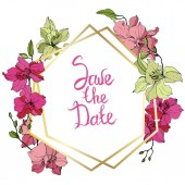 Beautiful orchid flowers Pink and yellow engraved ink art Frame golden crystal Save the Date handwriting monogram calligraphy
