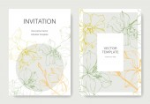 Yellow green and orange orchid flowers Engraved ink art Wedding cards with floral decorative borders Thank you rsvp invitation elegant cards illustration graphic set